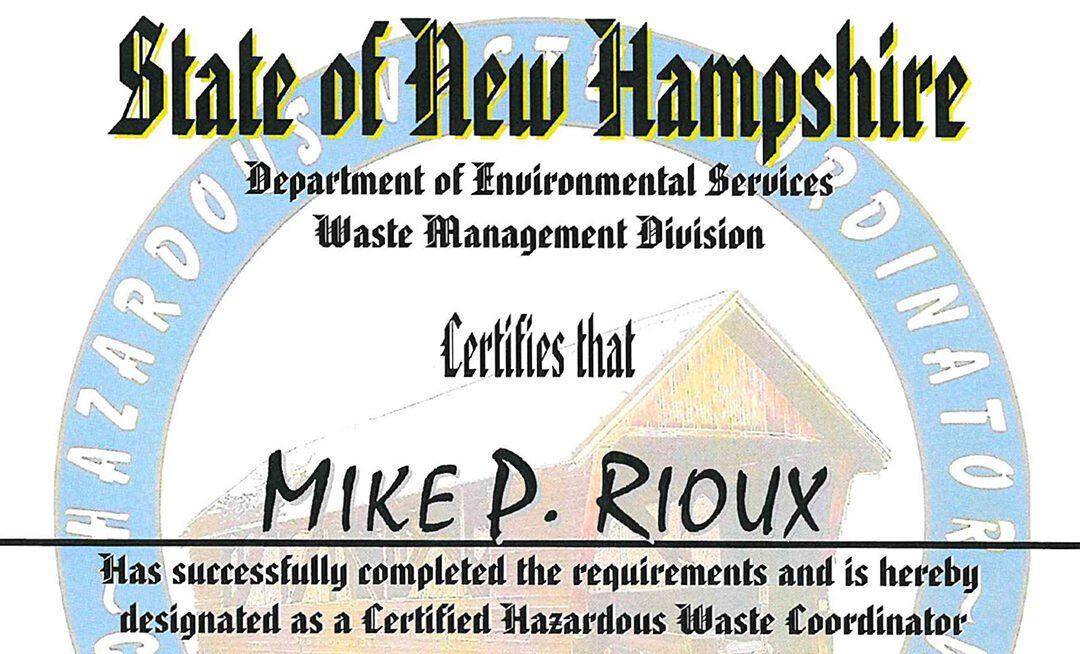 NHDES Hazardous Waste Coordinator Certification